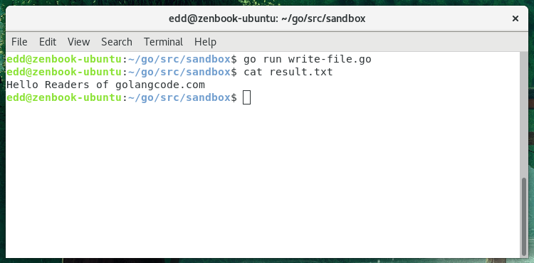 Writing to a File · GolangCode