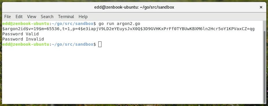 argon2 password hashing in go